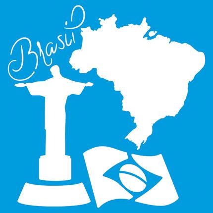 Stencil Litoarte 10X10 STX 348 Brasil Cristo Redentor Bandeira Mapa