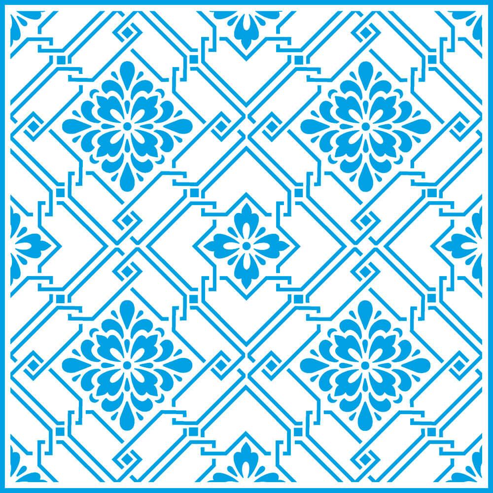 Stencil Litoarte STXX 005 Estampa Azulejo com Flores