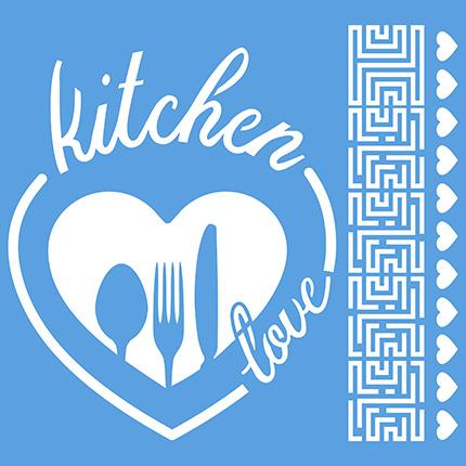 Stencil Litoarte STXX 110 Kitchen Love Coração Talhers