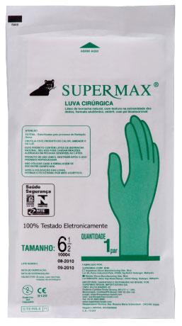 LUVA CIRURGICA ESTERIL 8 1/2 - ENVELOPE C/ 10 PARES DE LUVAS SUPERMAX
