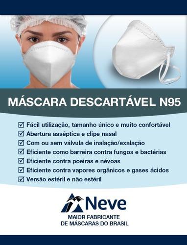 MASCARA DE PROTECAO RESPIRATORIA NEVE N95 PFF2.S  S/ VALVULA - BRANCA