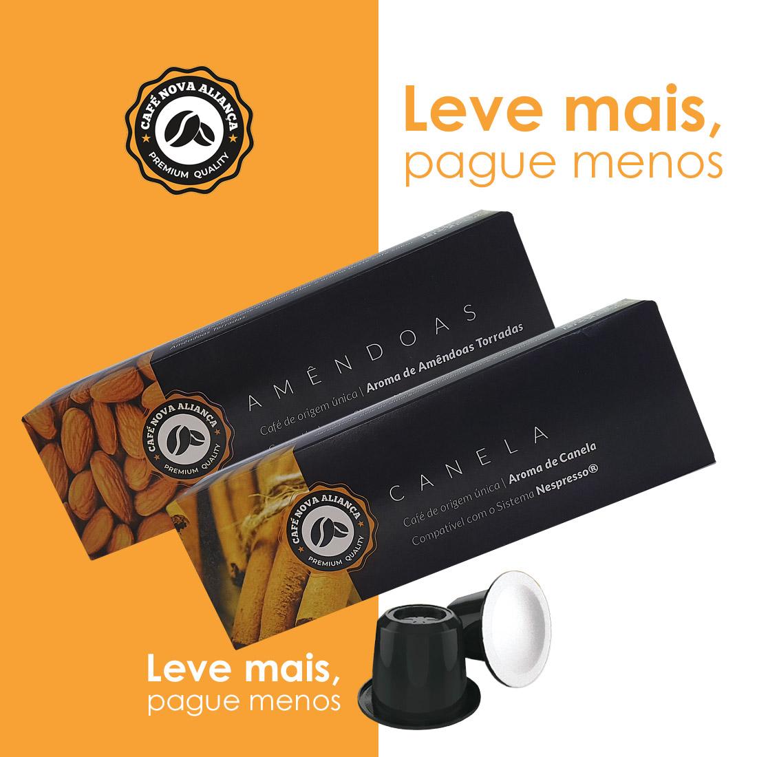 Kit Cápsulas de Café Compatível Nespresso Sabor Amêndoas  e Canela 2cx de cada