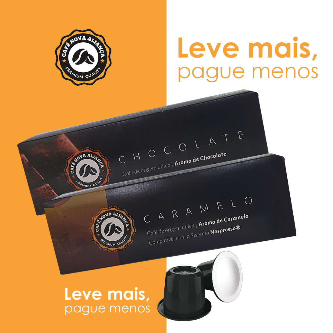 Kit Cápsulas de Café Compatível Nespresso Sabor Chocolate e Caramelo 2 cx de cada