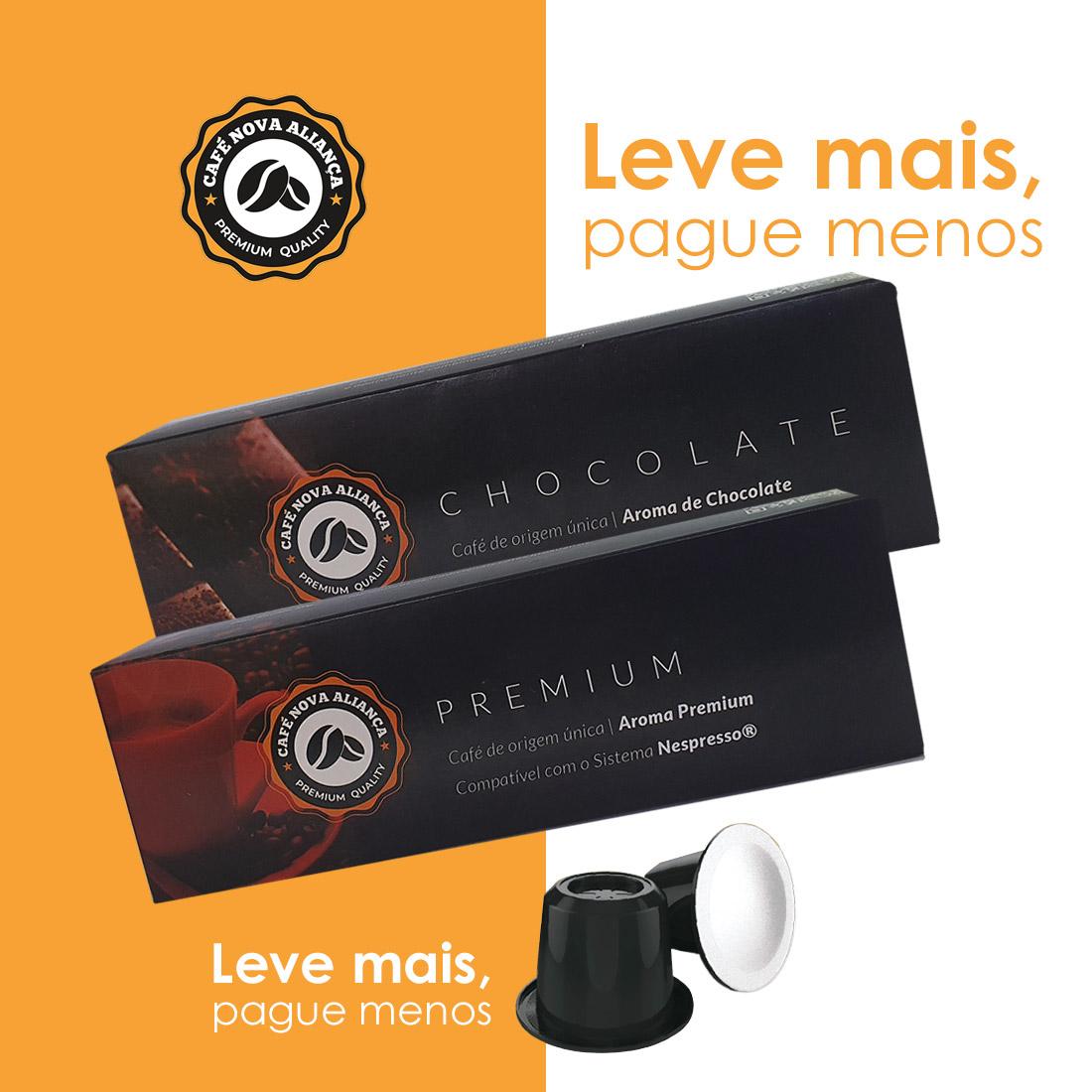 Kit Cápsulas de Café Compatível Nespresso Sabor Premium e Chocolate 2cx de cada