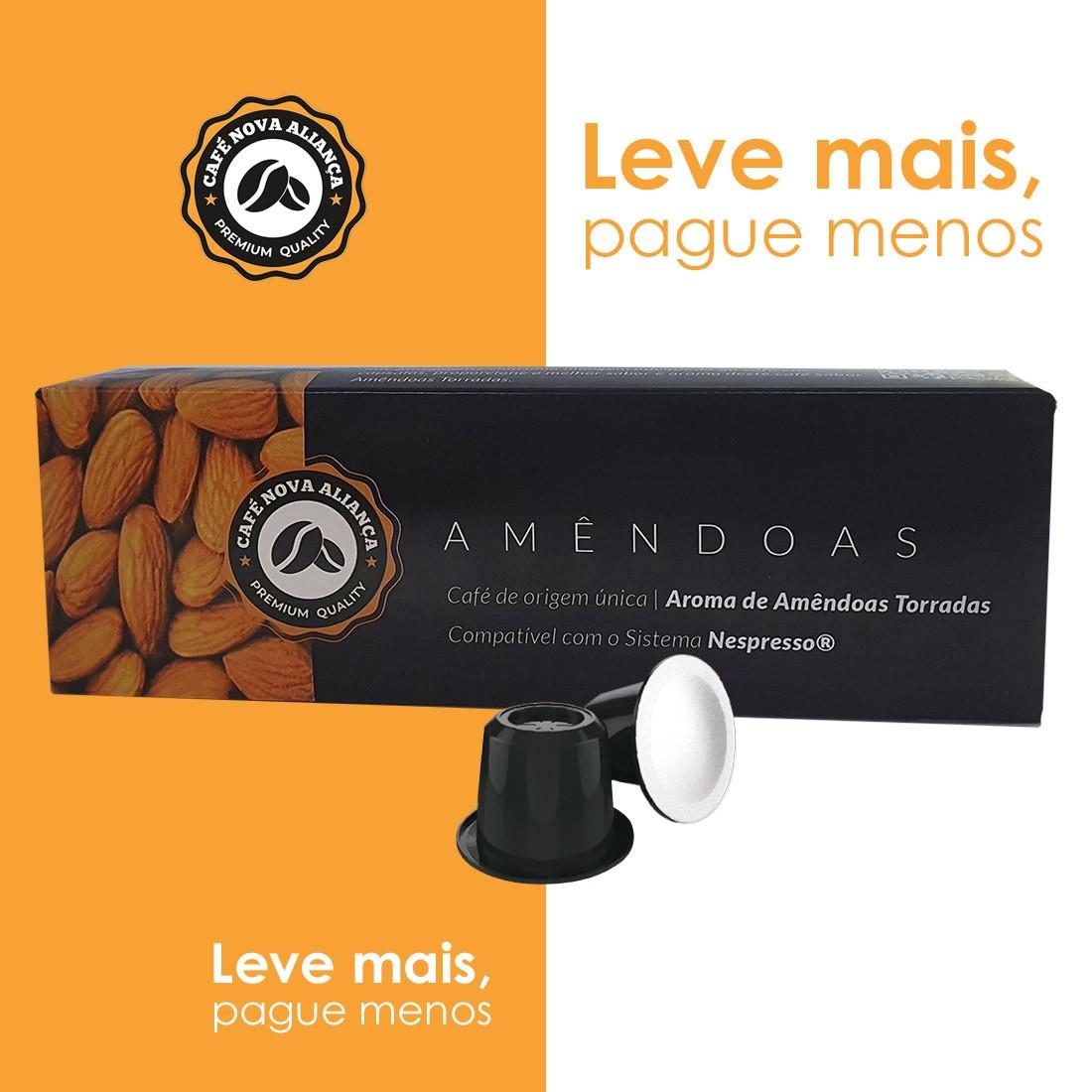 Kit Cápsulas de Café Compatível Nespresso Sabor Amêndoas 10cx
