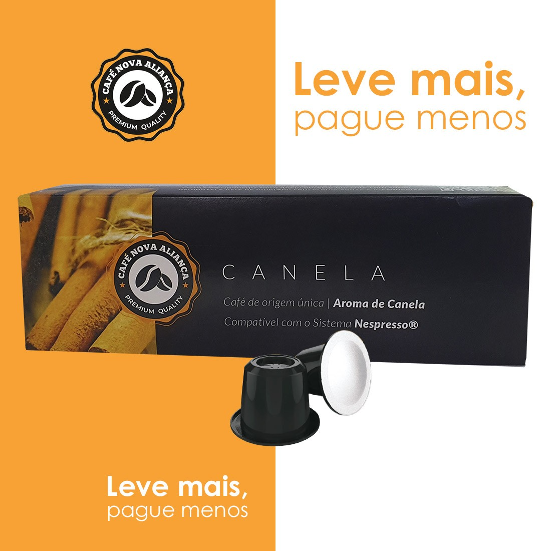 Kit Cápsulas de Café Compatível Nespresso Sabor Canela 10cx
