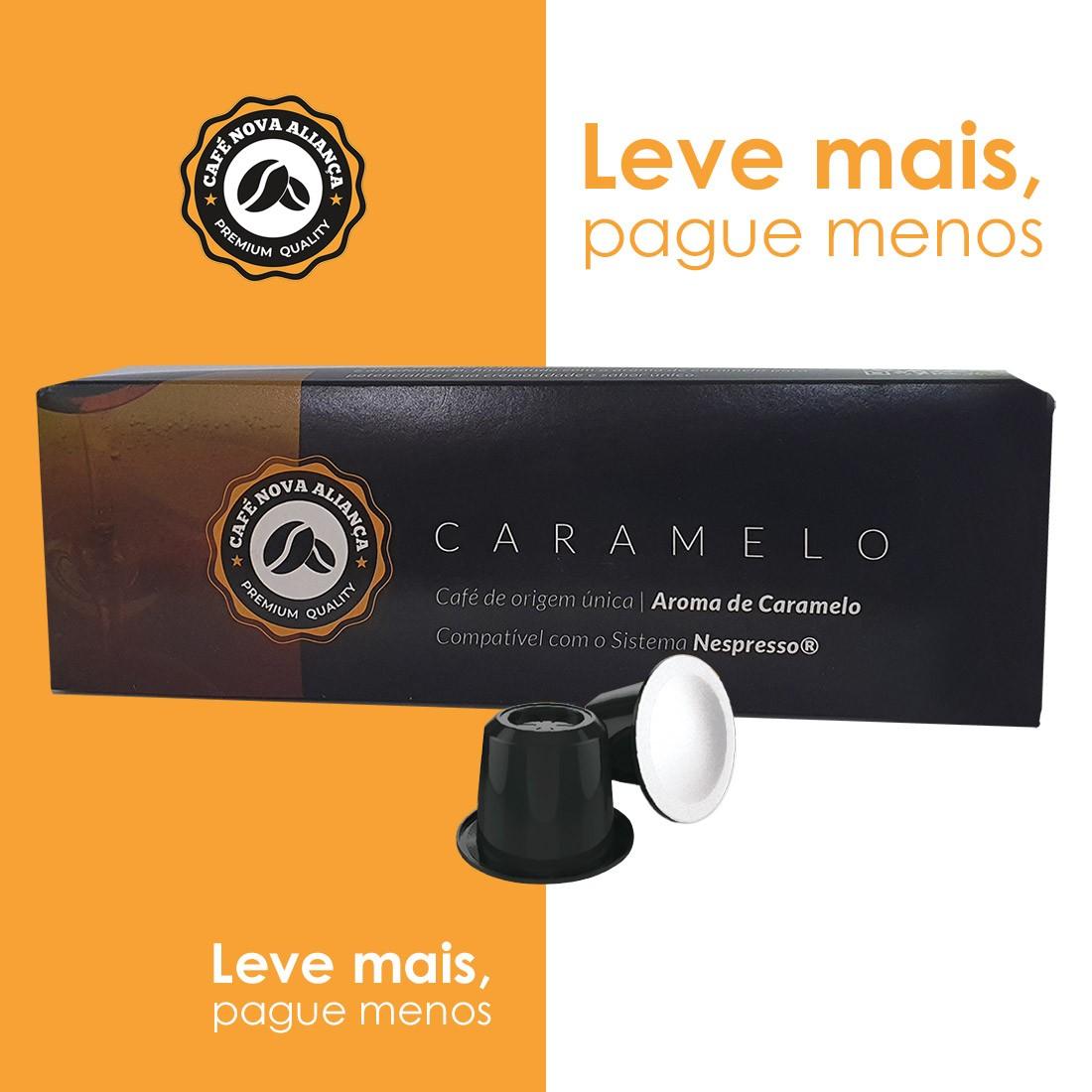 Kit Cápsulas de Café Compatível Nespresso Sabor Caramelo 10cx