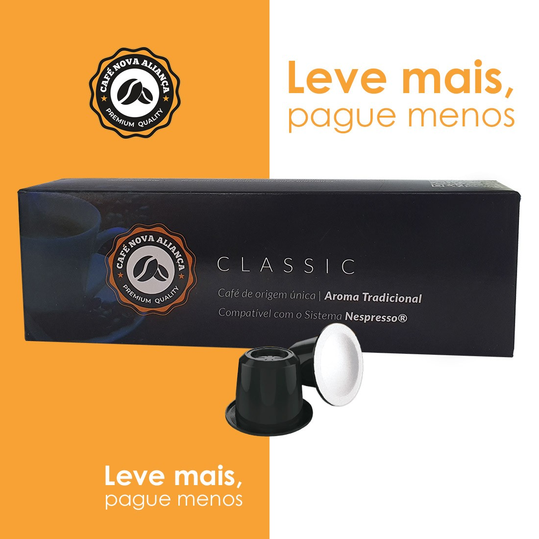 Kit Cápsulas de Café Compatível Nespresso Sabor Classic 10cx