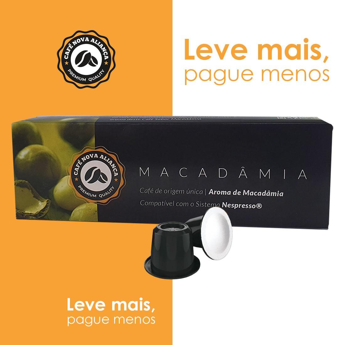 Kit Cápsulas de Café Compatível Nespresso Sabor Macadâmia 10cx