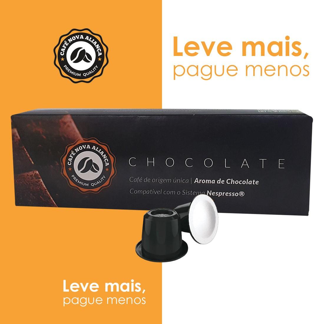 Kit Cápsulas de Café Compatível Nespresso Sabor Chocolate 6cx