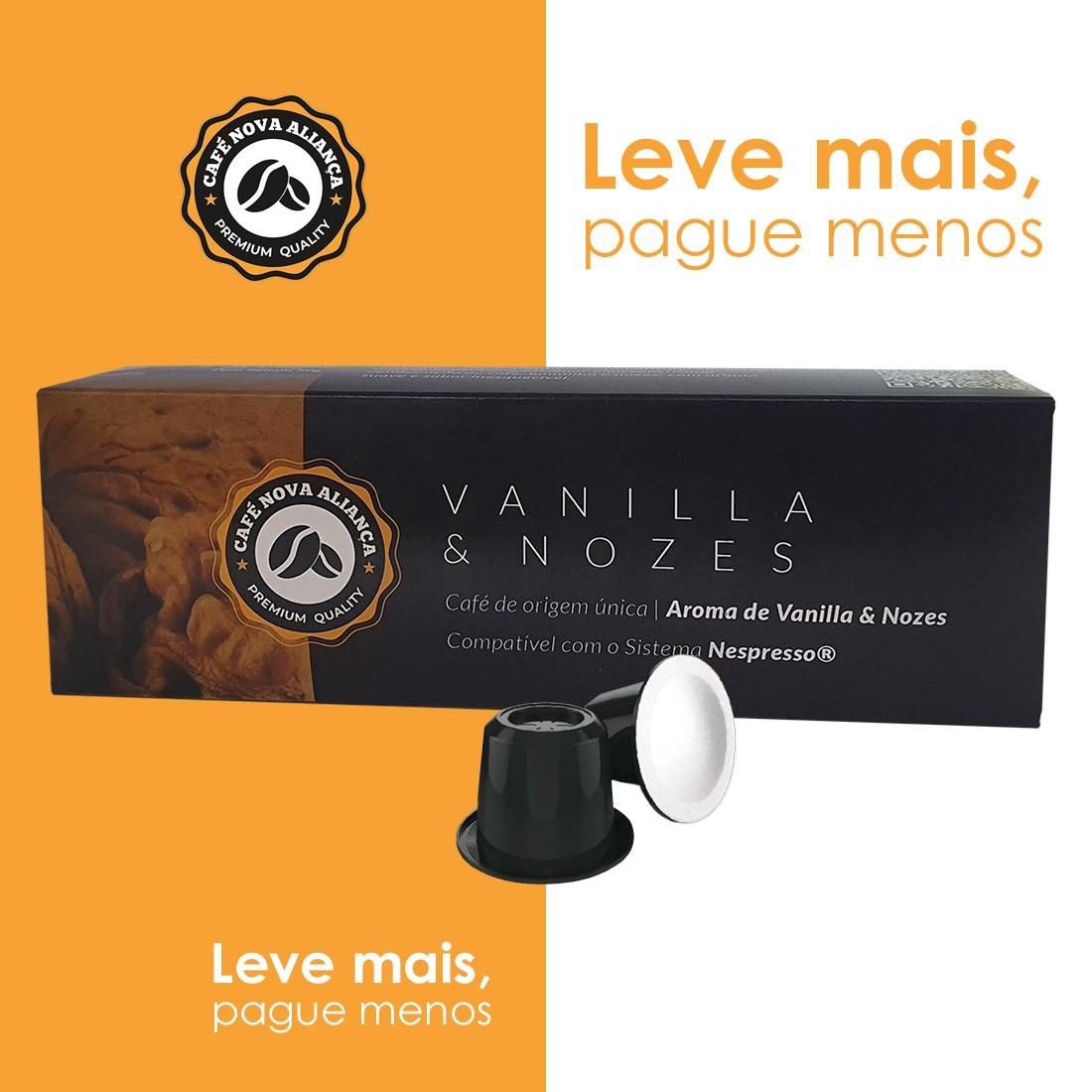 Kit Cápsulas de Café Compatível Nespresso Sabor Vanilla e Nozes 10cx