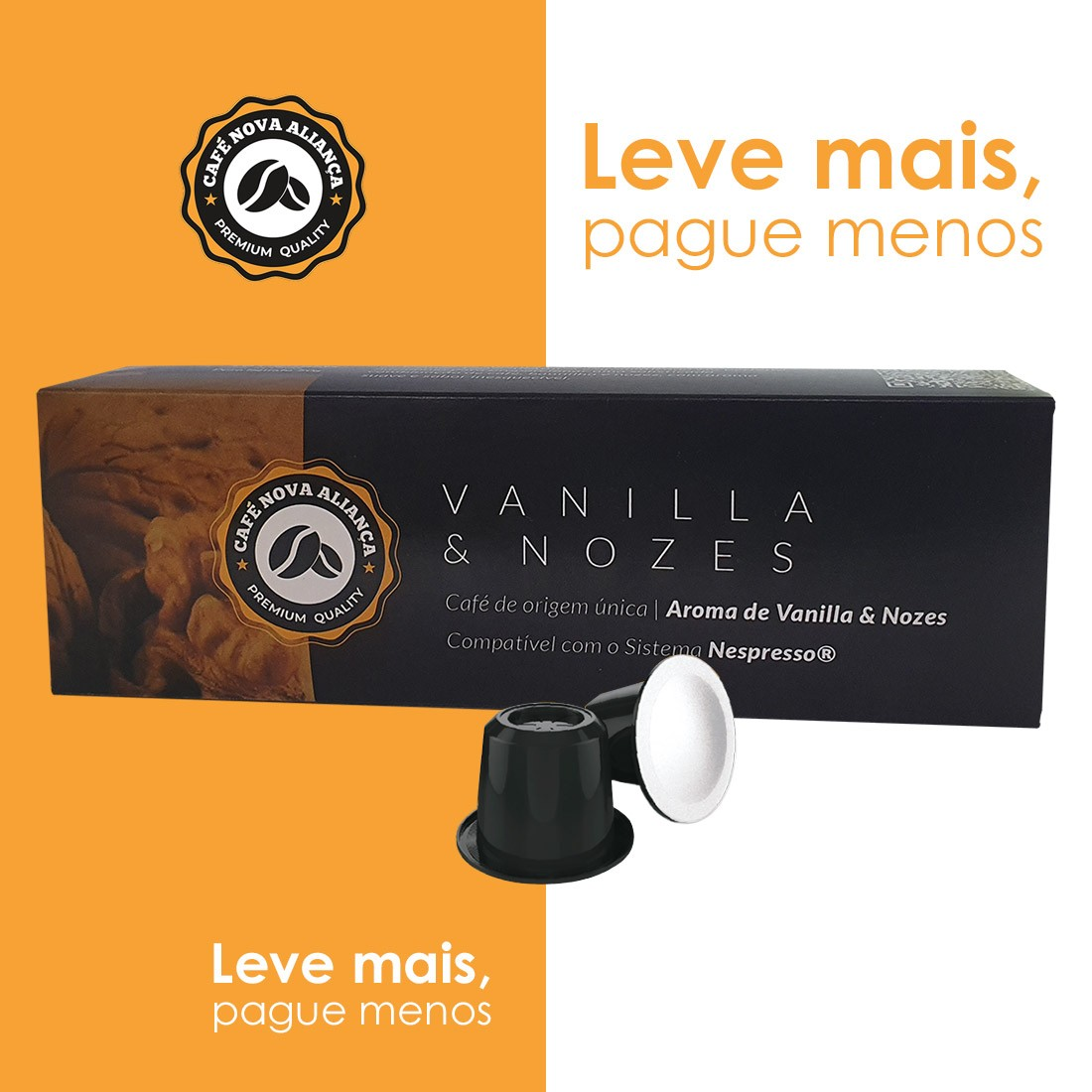 Kit Cápsulas de Café Compatível Nespresso Sabor Vanilla e Nozes 6cx