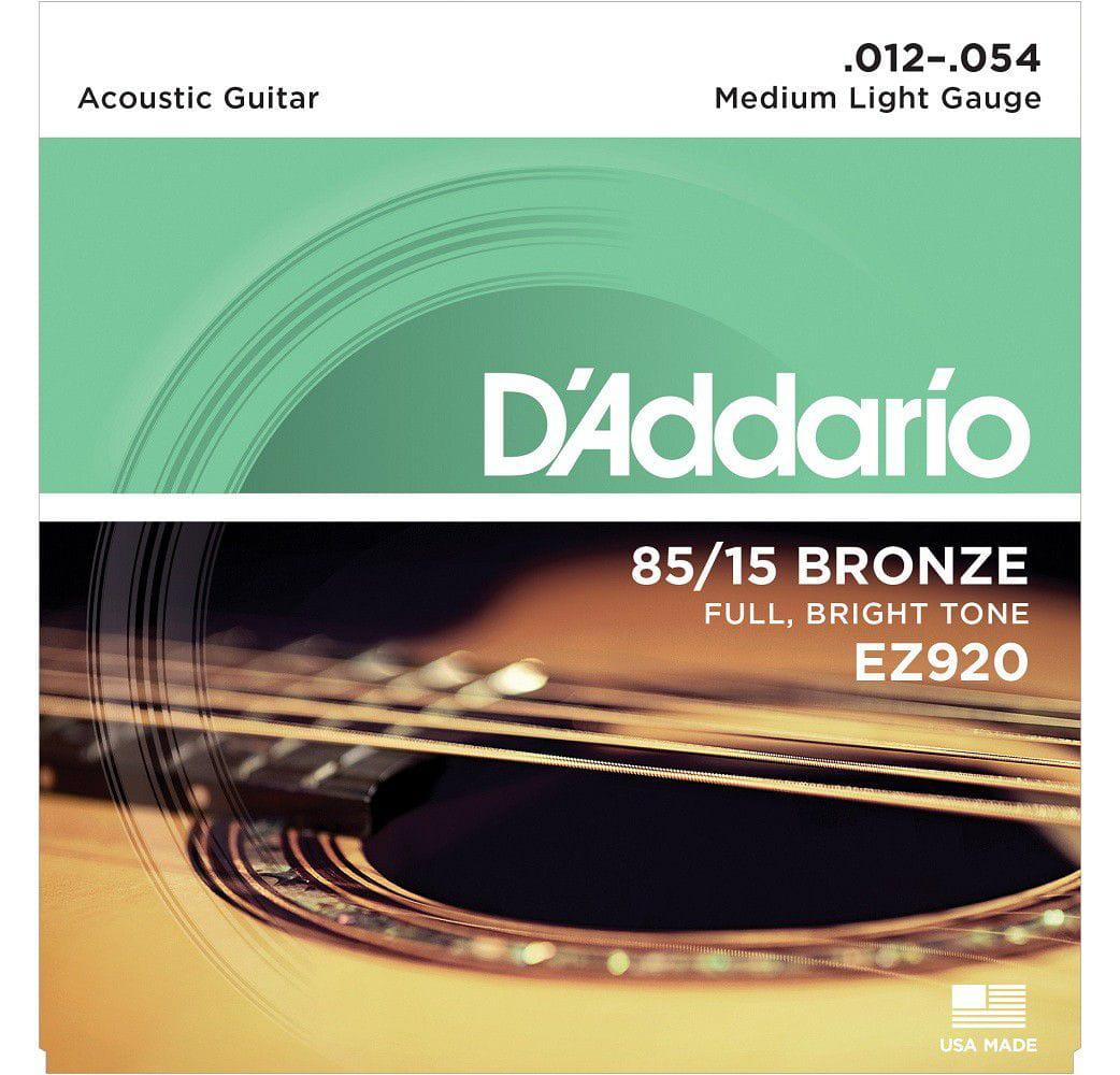 Cordas de  Violão D'Addario 012-054 EZ920 Medium Light 85/15 Bronze