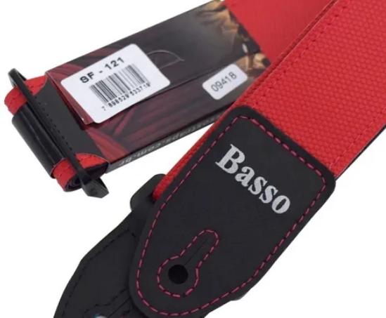 Correia Basso Couro Liso Vermleha Sf-121 Para Guitarra Baixo VIOLÃO