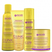 Kit Richée Clinic Repair Completo c/ Queratina e Mascara 500g