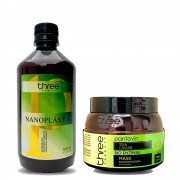 Three Therapy Kit Progressiva Nanoplástia sem Formol & Máscara Reconstrutora 60 Segundos 2x500ml/17.6fl.oz