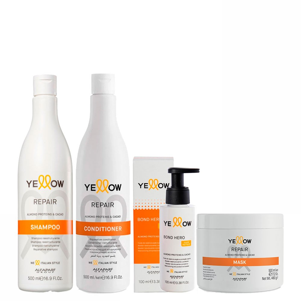Alfaparf Kit Home Care Yellow Repair Almond Proteins & Cacao Shampoo, Conditioner, Mask and Blond Hero