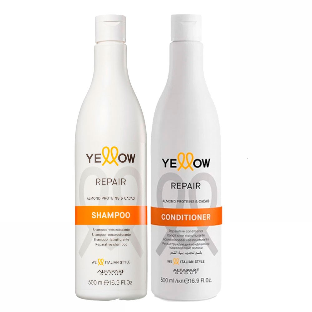 Alfaparf Kit Yellow Repair Almond Proteins & Cacao Shampoo and Conditioner