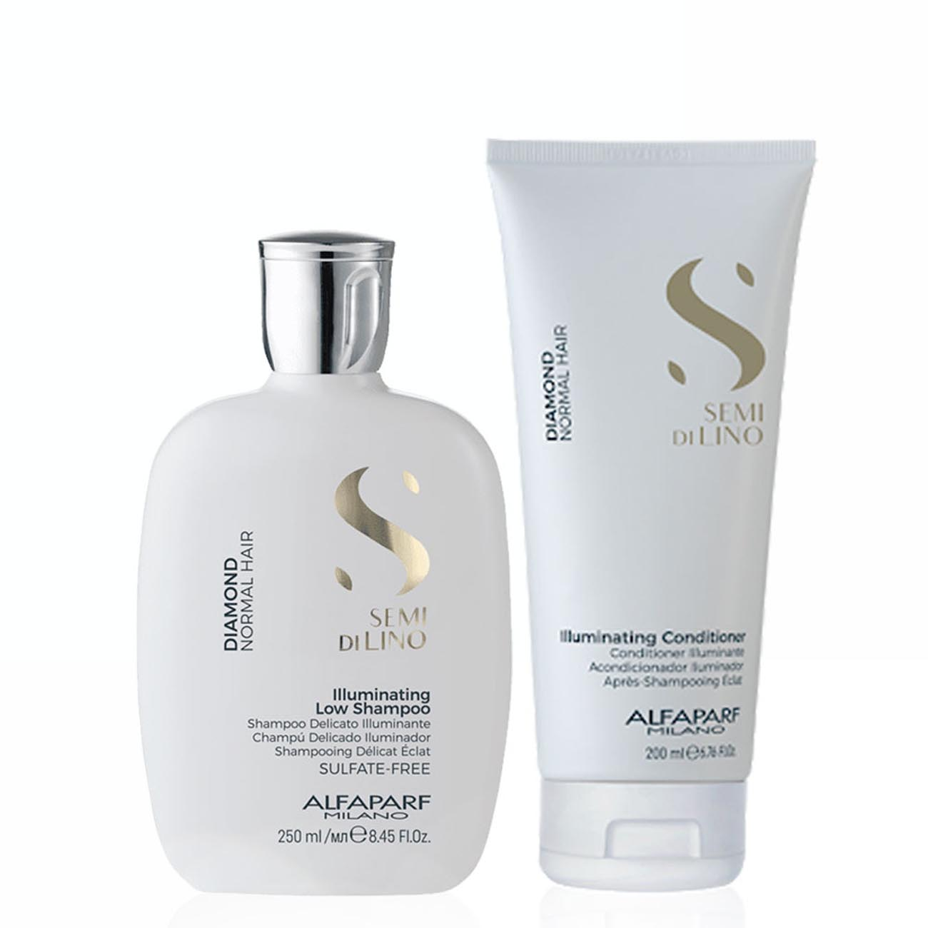 Alfaparf Milano Semi Di LINO Diamond Normal Hair Illuminating Shampoo and Conditioner Home Care