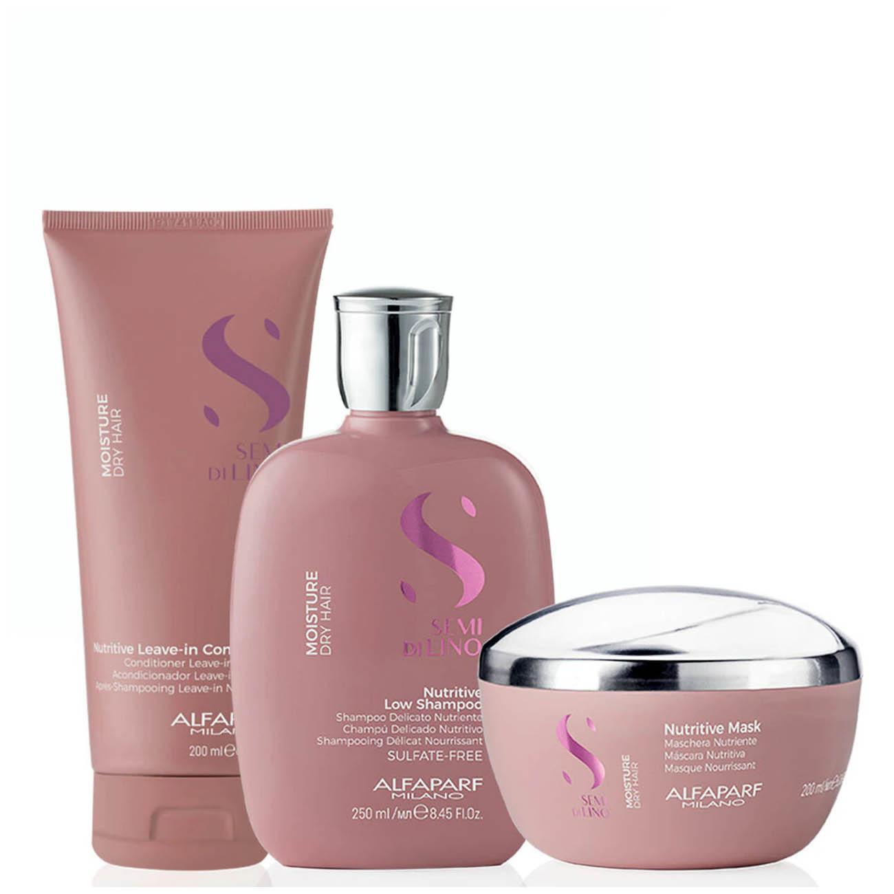 Alfaparf Milano Semi Di LINO Moisture Dry Hair Nutritive  Shampoo/Conditioner/ Mask Kit Home Care