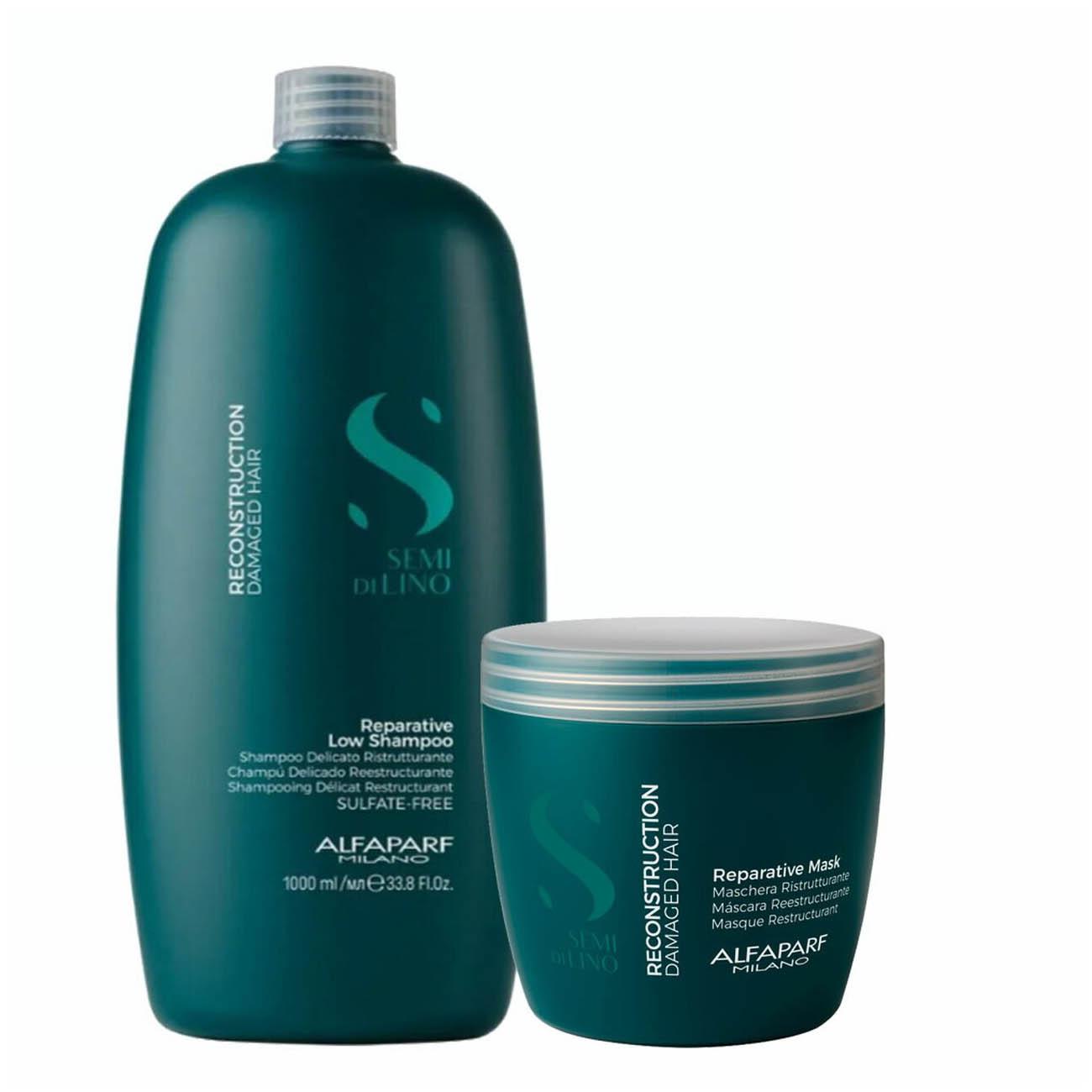 Alfaparf Milano Semi Di LINO Reconstruction Demage Hair Reparative Shampoo and Mask