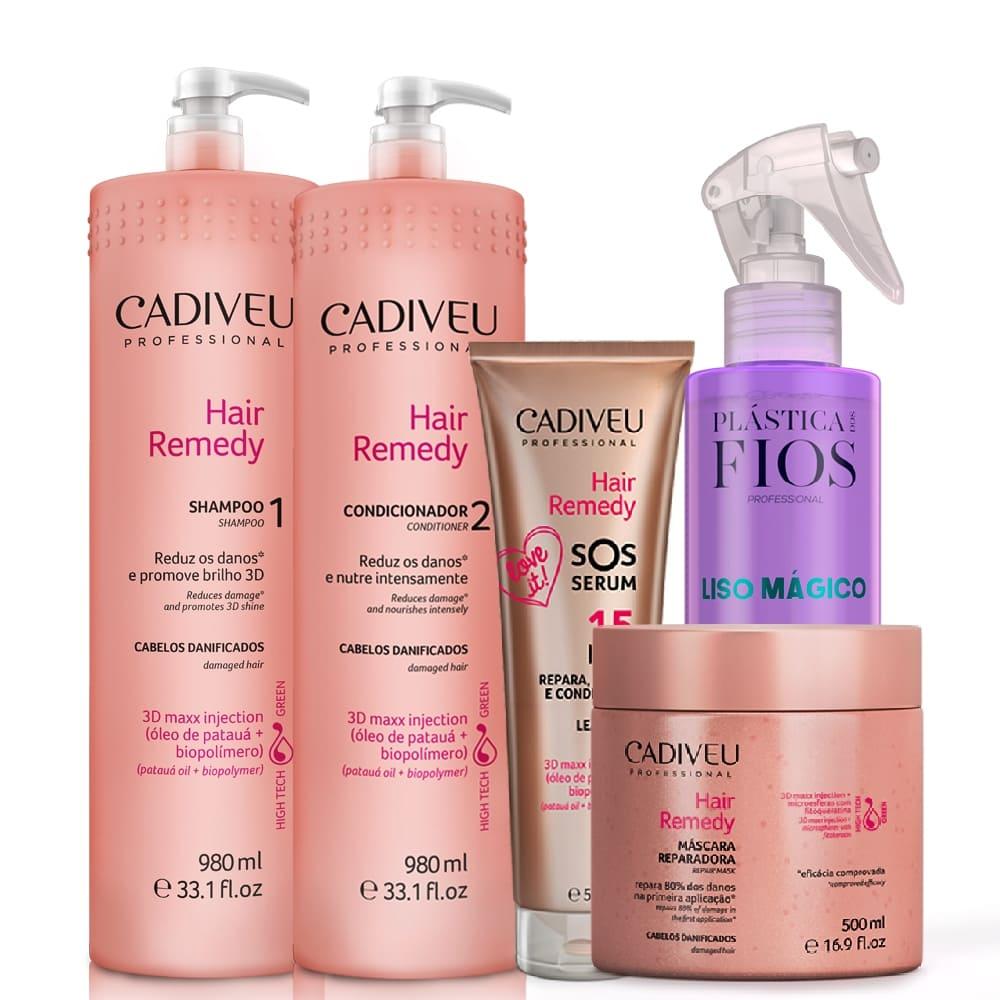 Cadiveu Hair Remedy Kit Lavatório+ Máscara+ SOS+ Liso Mágico