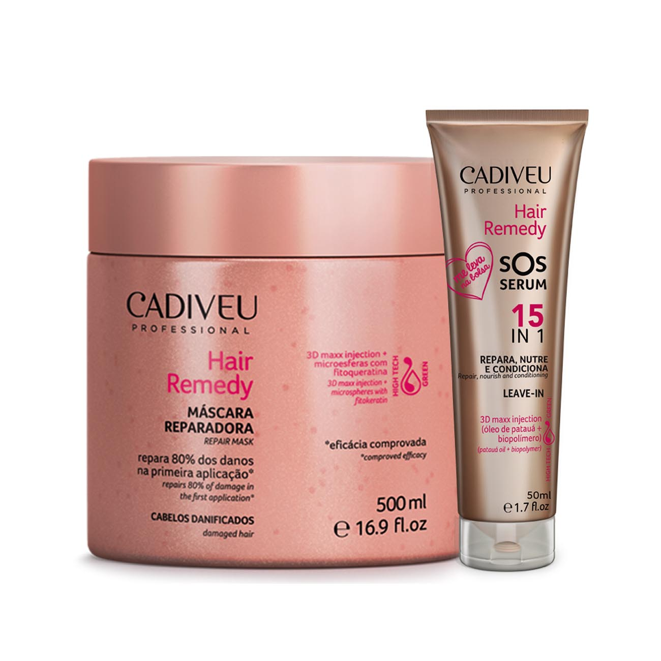 Cadiveu Hair Remedy Máscara Reparadora + Sos Serum Leave-in