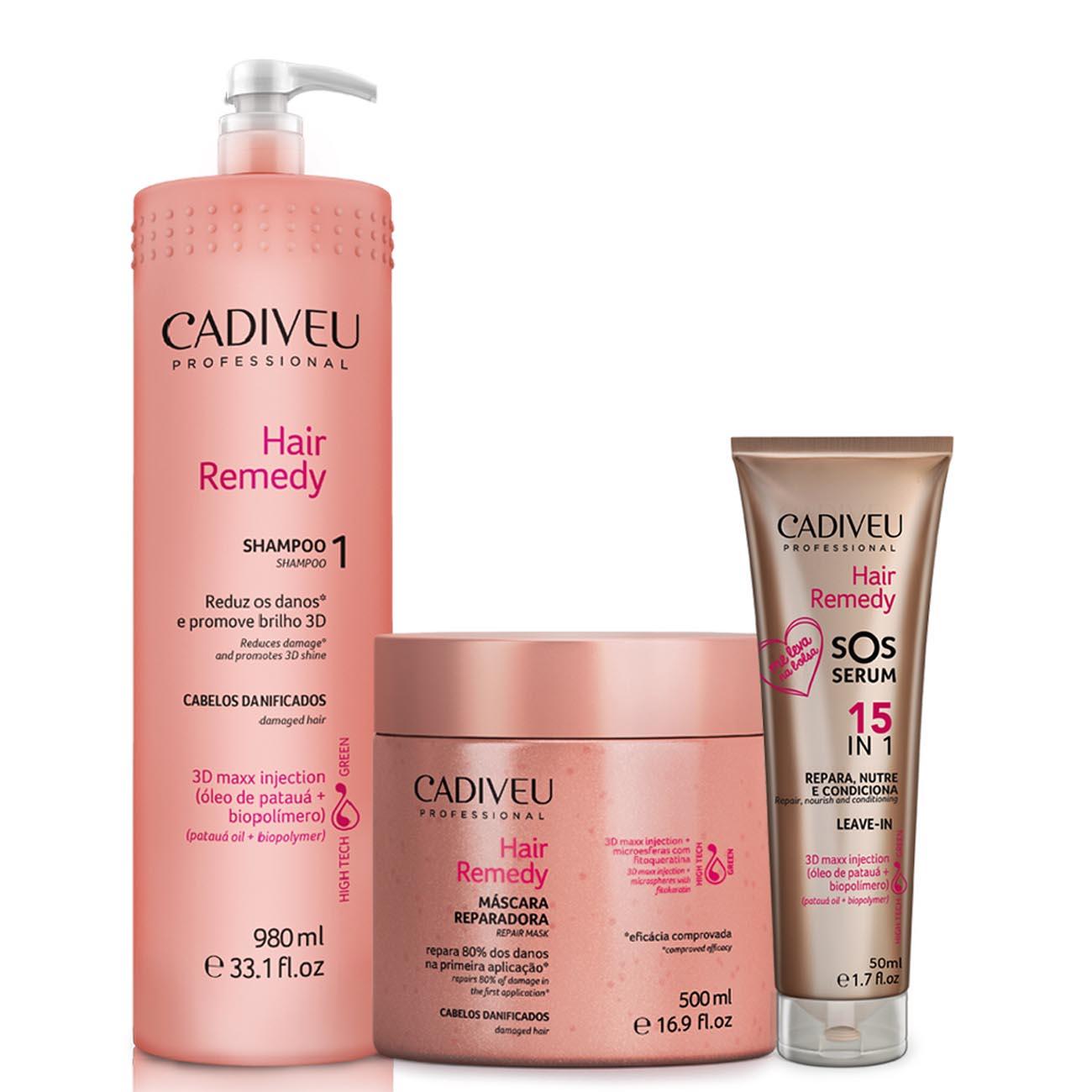 Cadiveu Hair Remedy Shampoo + Máscara + Sos Serum 50 ml