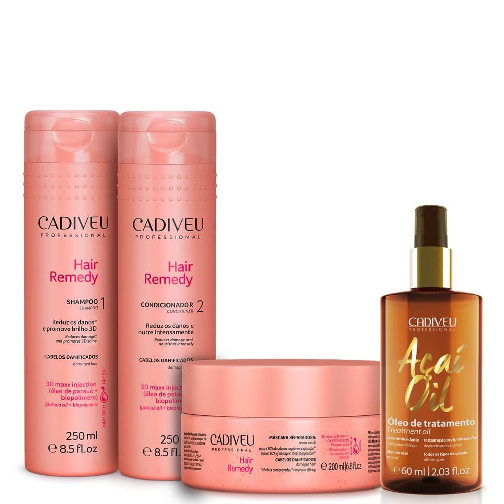 Cadiveu Kit Hair Remedy Home Care + Óleo de Açaí 60ml