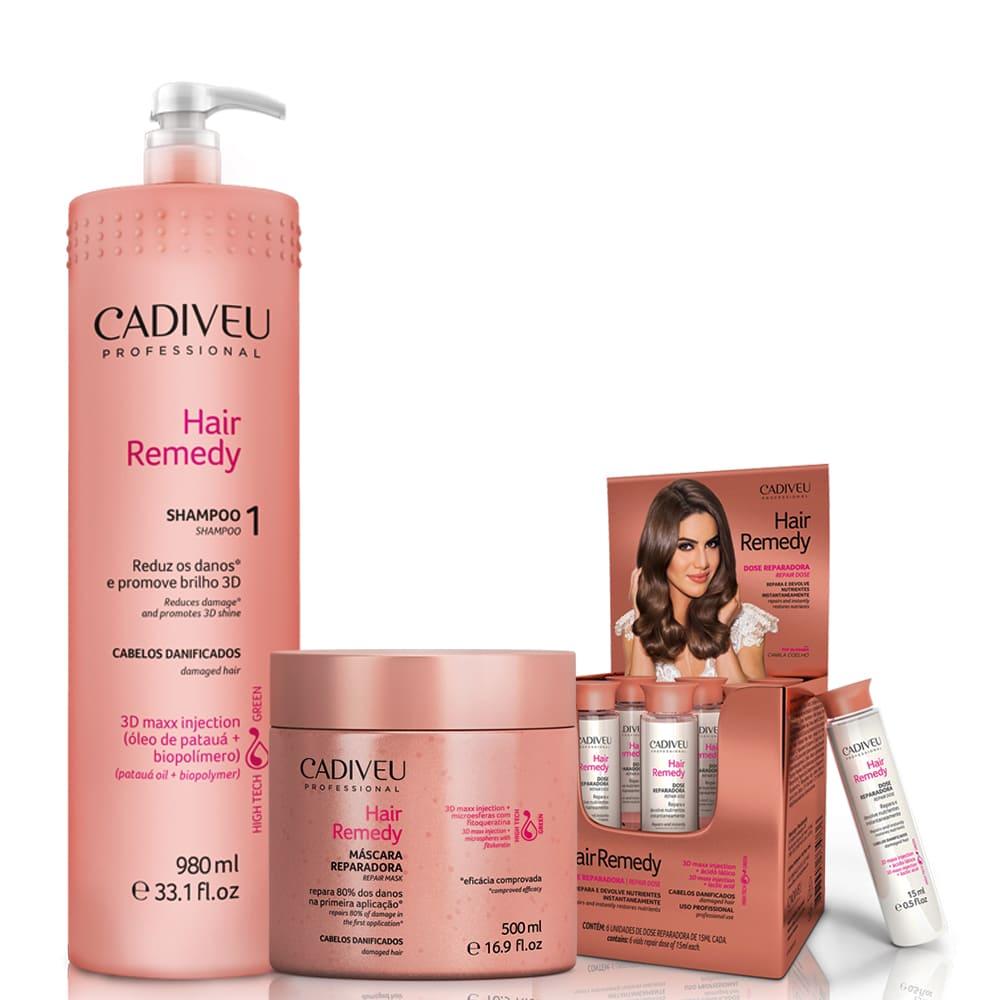 Cadiveu Professional Hair Remedy Kit Tratamento Reparadora (3 Produtos