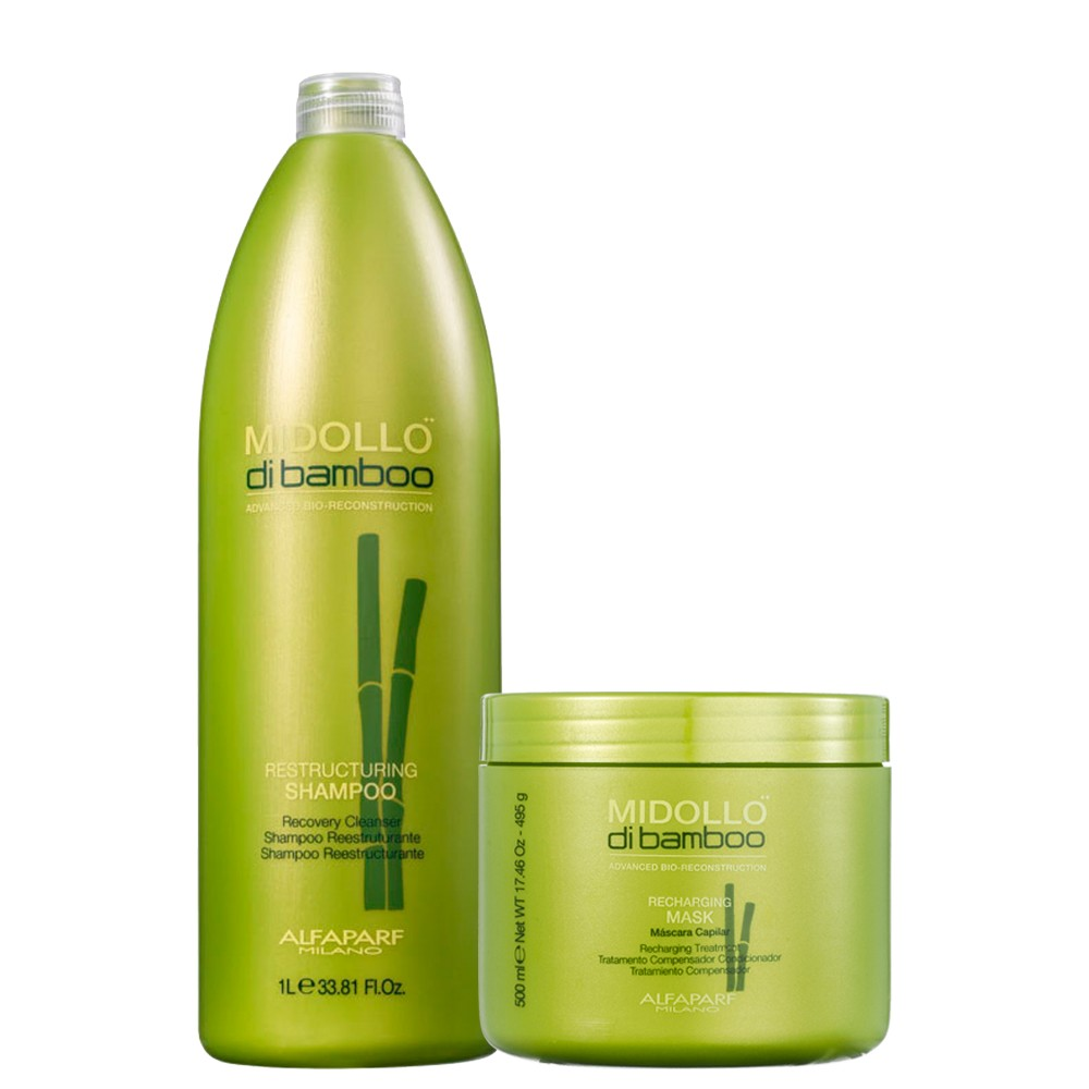 Kit Alfaparf Midollo Di Bamboo Shampoo e Mascara Reconstrução