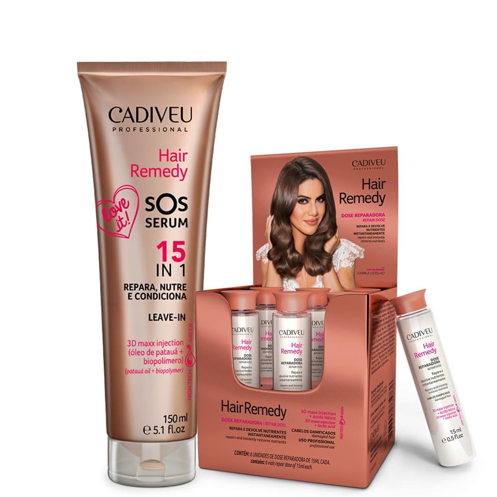 Kit Cadiveu Hair Remedy 6 Ampolas Reparadora + Sos Serum
