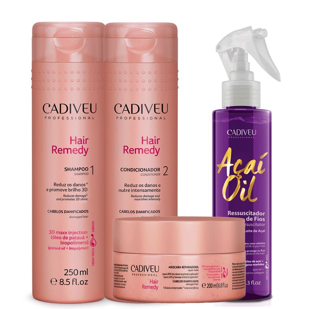 Kit Cadiveu Hair Remedy + Leite De Açaí Leave-in Termoativo
