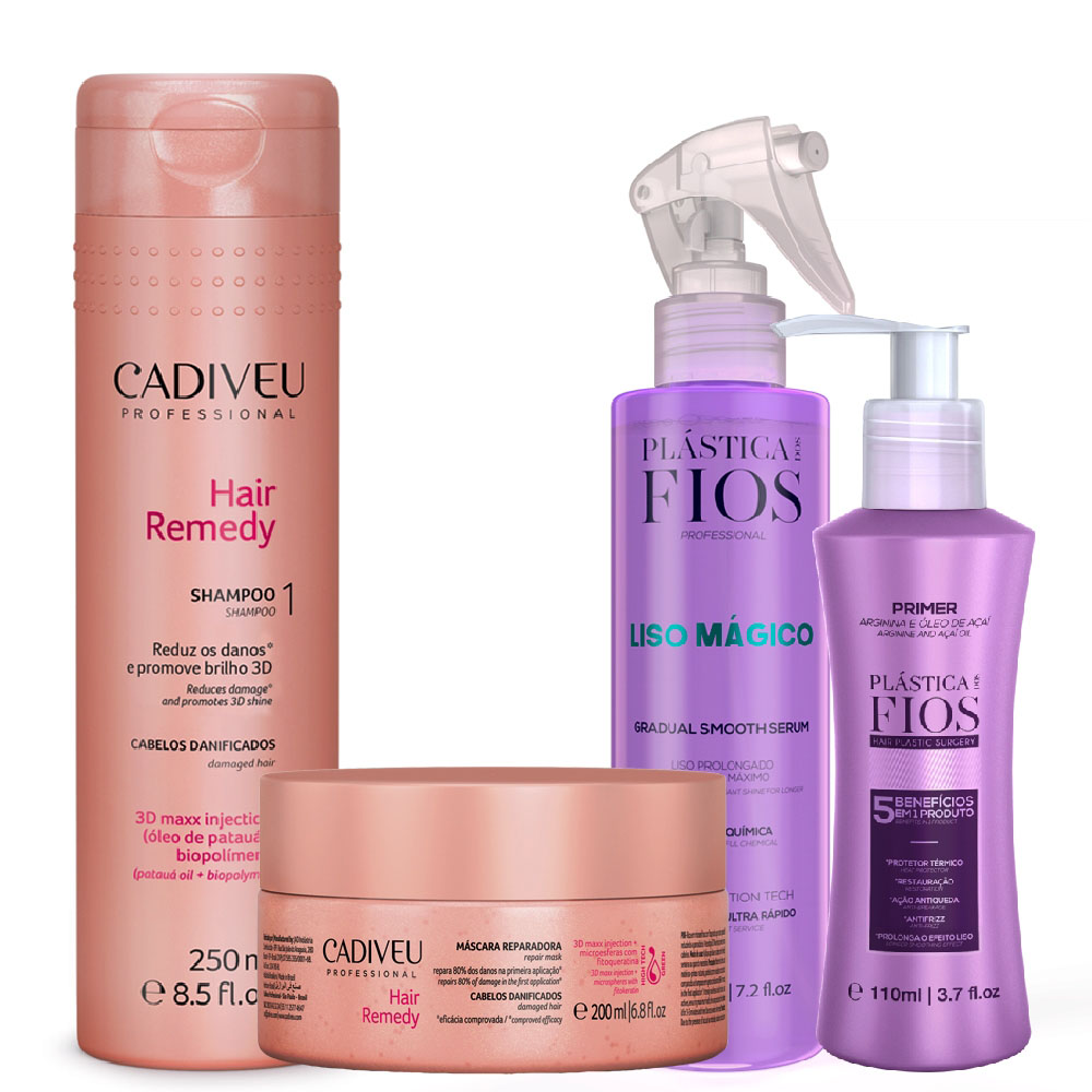 Kit Cadiveu Hair Remedy+ Plastica Fios Primer+ Liso Mágico