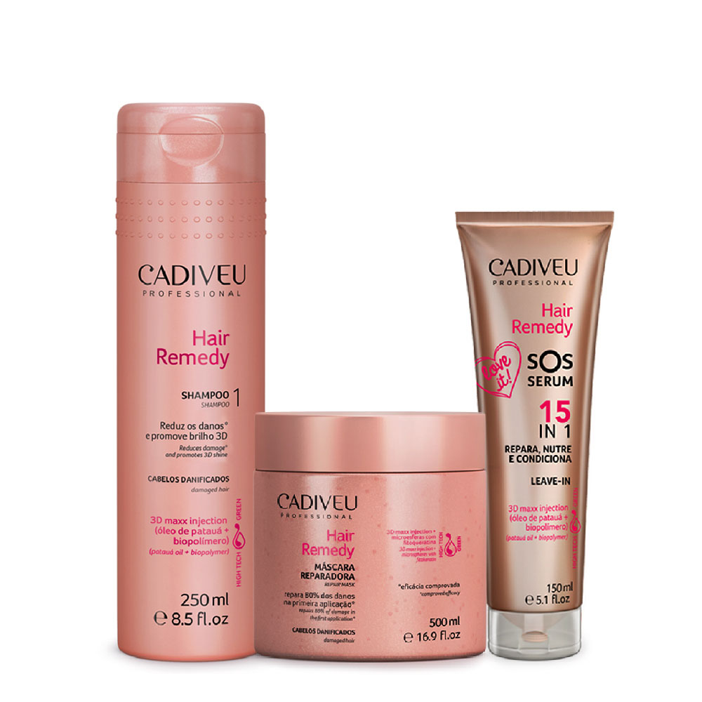 Kit Cadiveu Hair Remedy Shampoo + Máscara + Sos Serum
