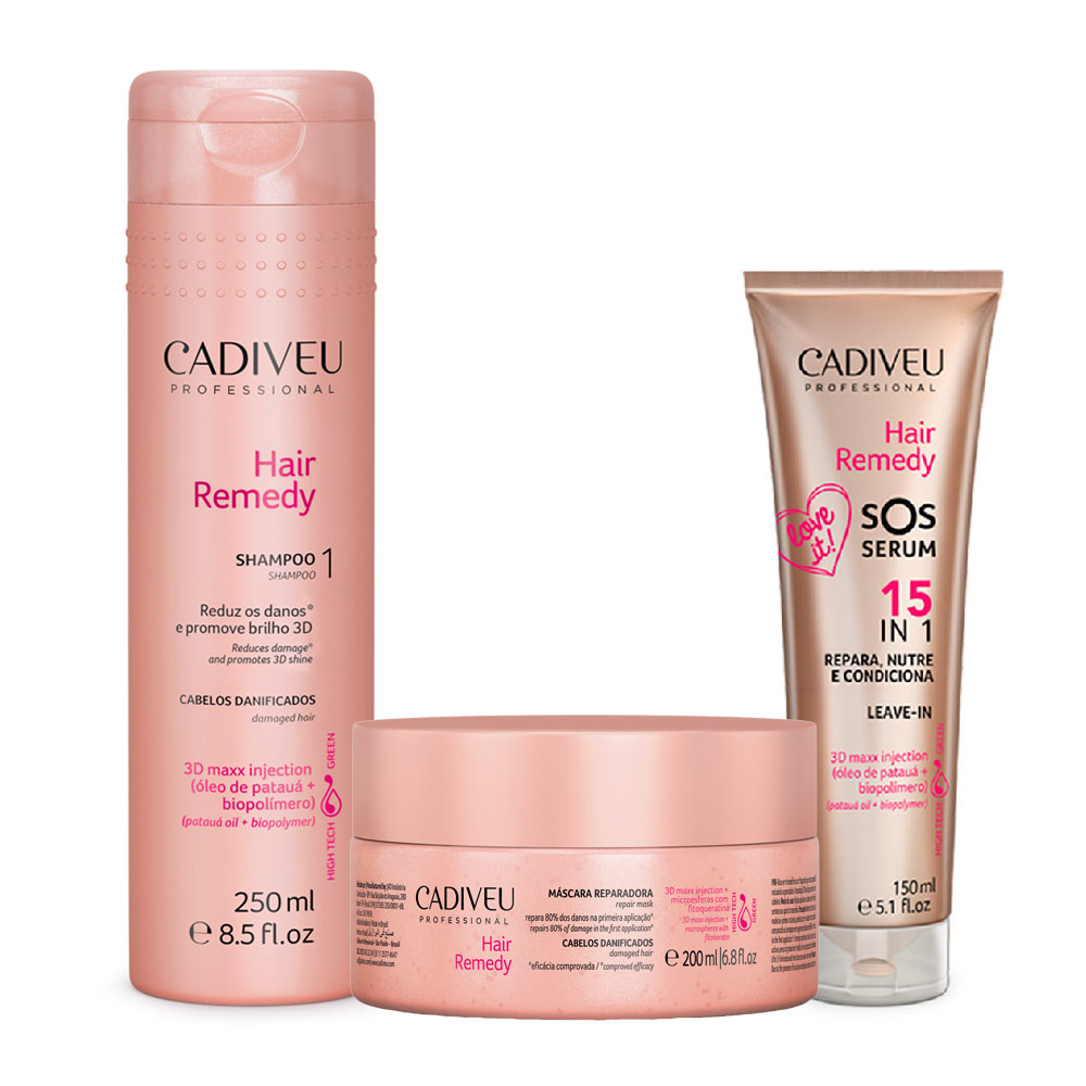 Kit Cadiveu Hair Remedy Shampoo + Máscara + SOS Serum