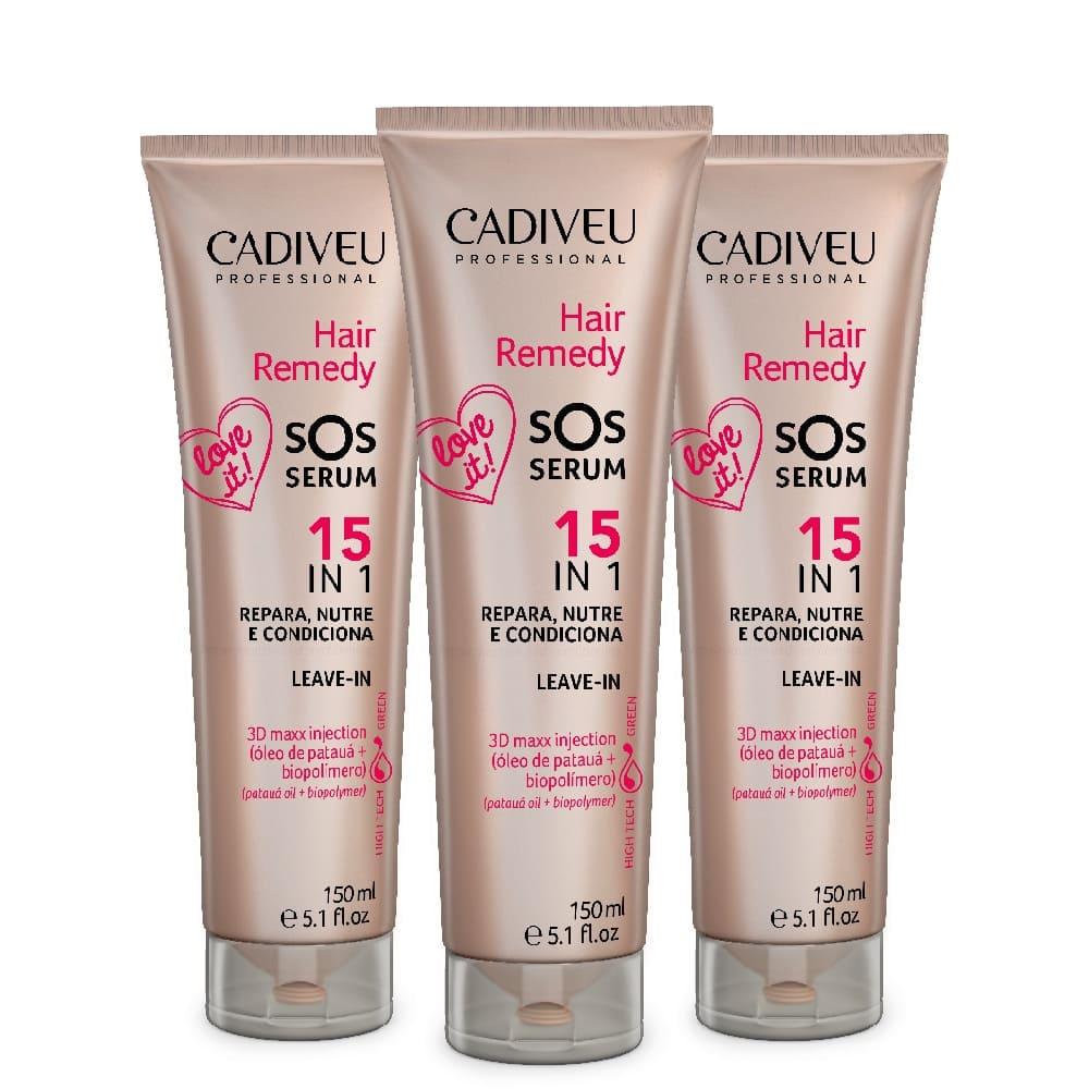 Kit Cadiveu Hair Remedy Sos Serum 15 em 1 Leave-in 3 uni