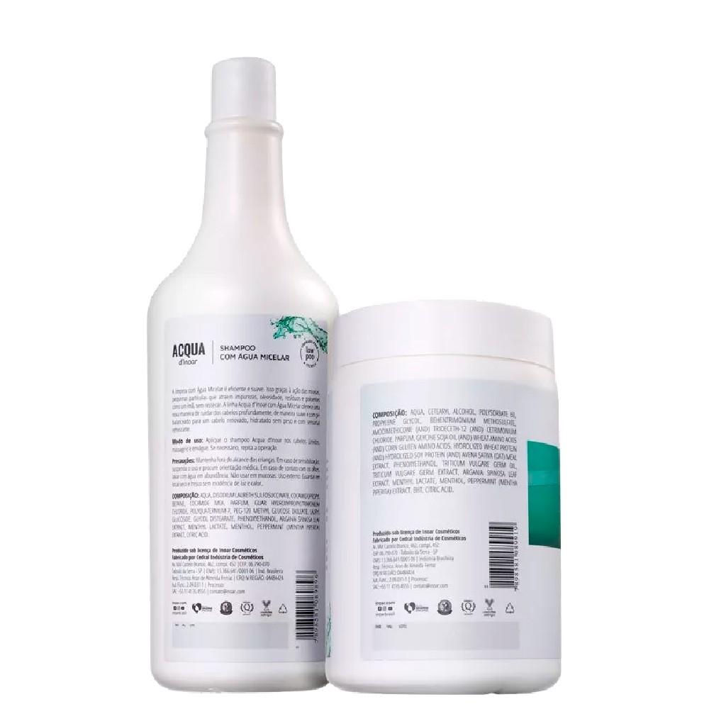 Kit Inoar Acqua Dinoar C/ Água Micelar Shampoo + Máscara Rev