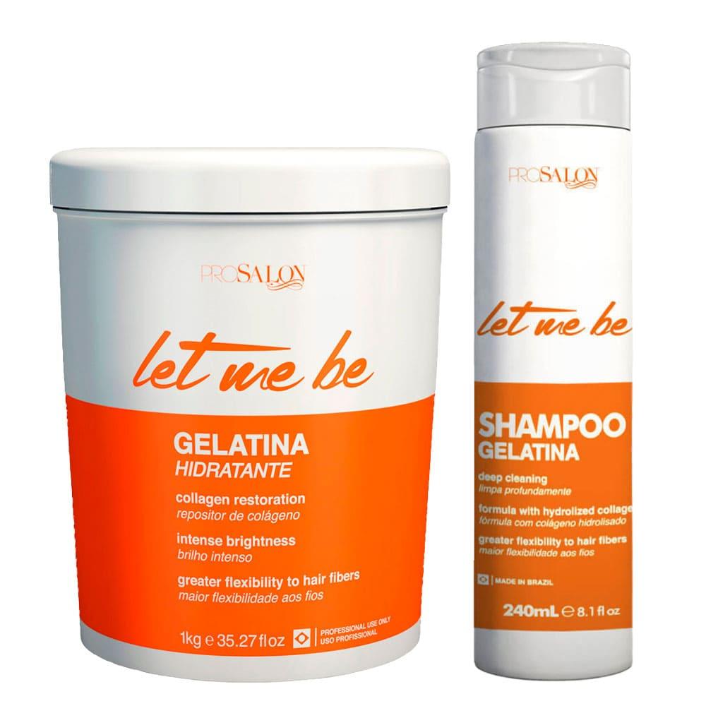 Kit Let me Be Shampoo Gelatina 240ml + Máscara Gelatina 1kg