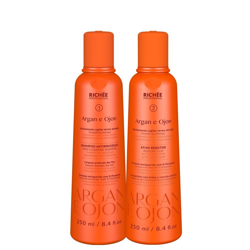 Kit Richée Argan e Ojon Shampoo 1 + Ativo 2 2x 250 ML