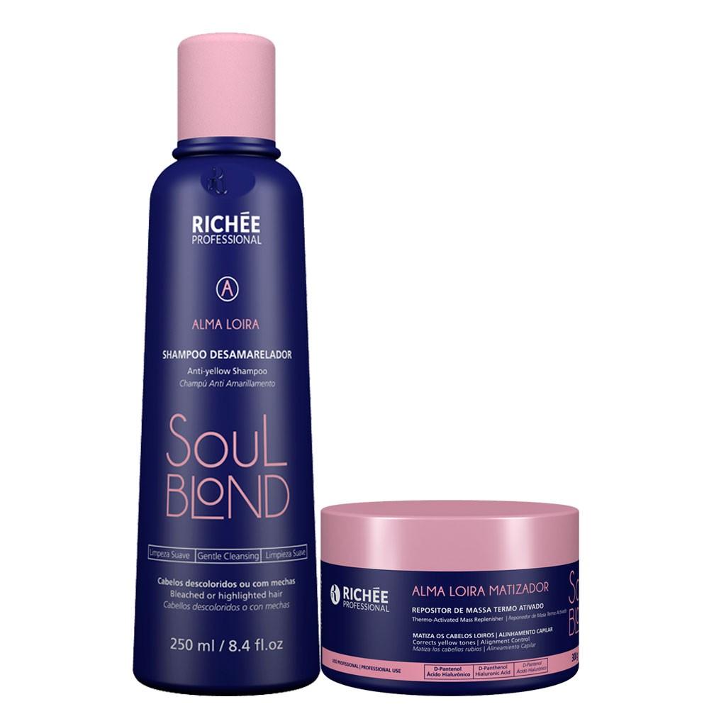 Kit Richée Matizador Soul Blond Shampoo + Repositor de Massa