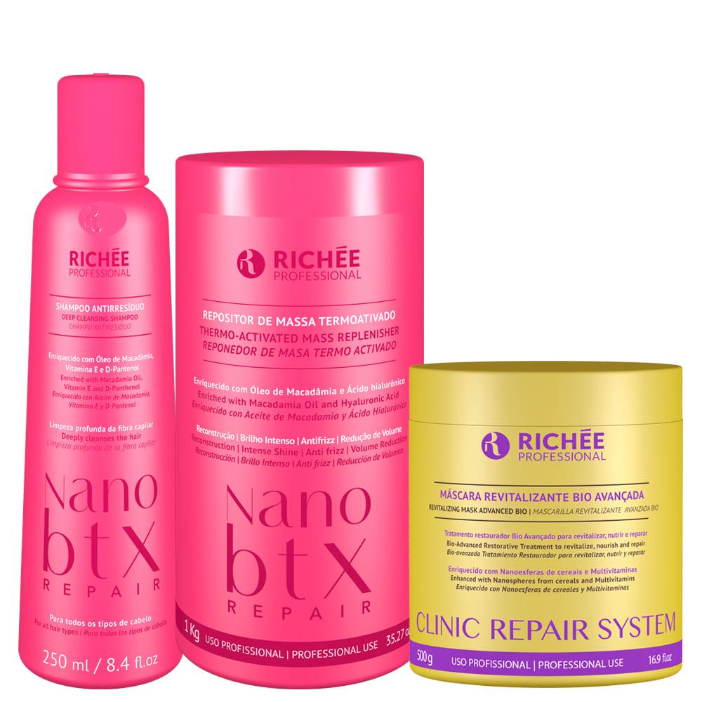 Kit Richée Nanobtx + Shampoo Antirresiduo e Clinic Repair