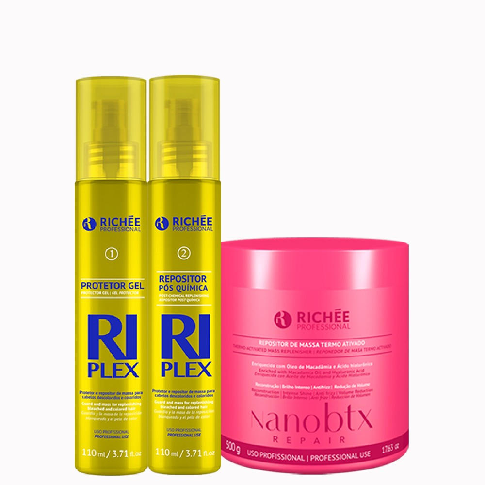 Kit Richée Riplex Passo 1 e 2 + Mascara Nanobtx 500g