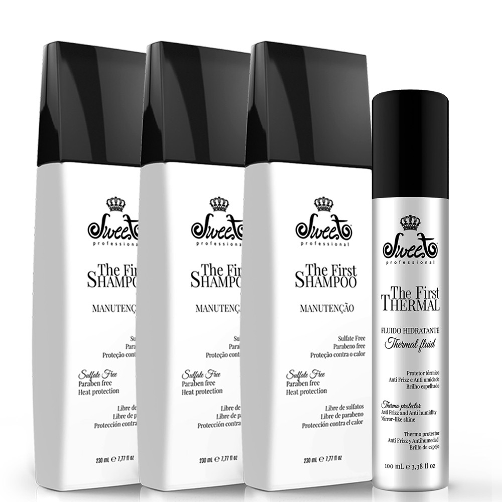 Kit Sweet Hair The First Shampoo Manutenção 3 Un. + Fluído