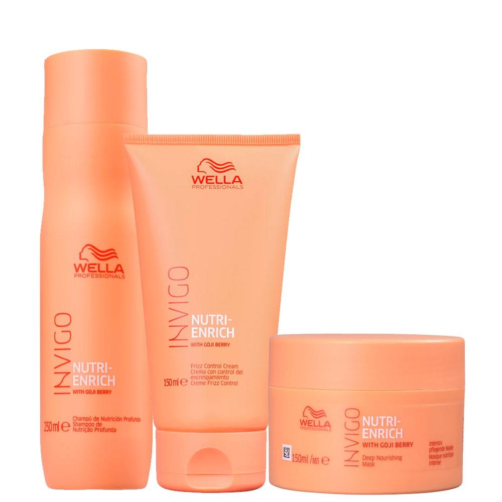 Kit Wella Enrich Shampoo + Mascara e Leave-in Tratam/Diário