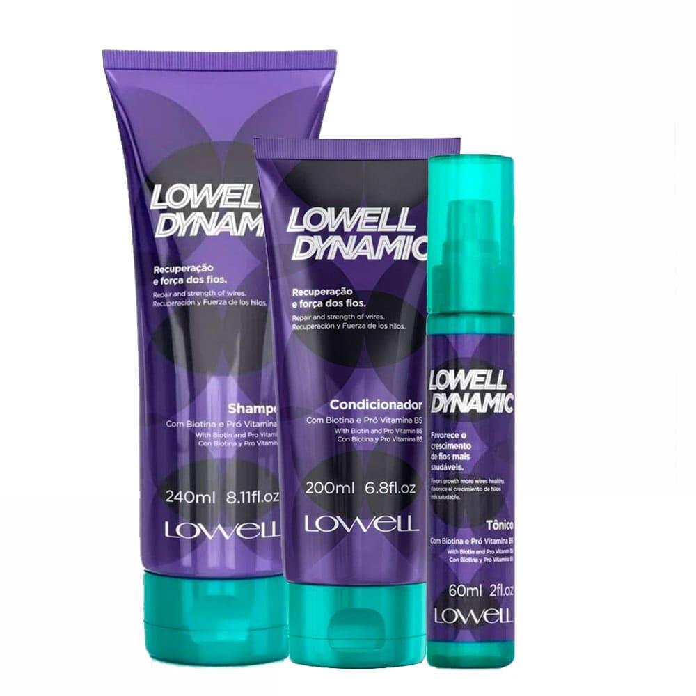 Lowell Kit Dynamic Shampoo, Condicionador e Tônico Recuperação e Força