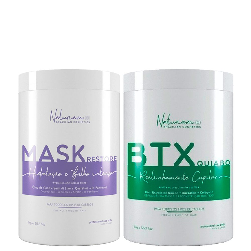 Naturiam Kit Btx Sem formol + Mascara Restore Hidratação e Brilho Intenso