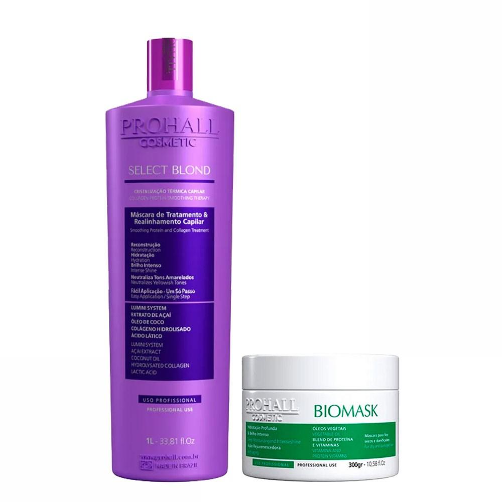 Prohall Kit Select Blond & Biomask Hidratação para Cabelos Danificados