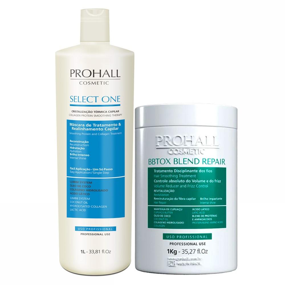 Prohall Kit Select One Progressiva & BBTOX Blend Repair Tratamento Organico 2x1L