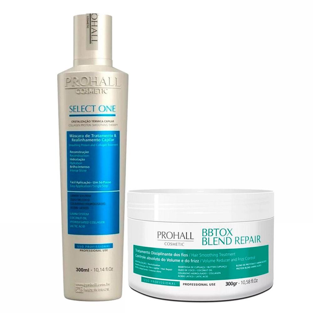 Prohall Kit Select One Progressiva & BBTOX Blend Repair Tratamento Organico 2x300ml